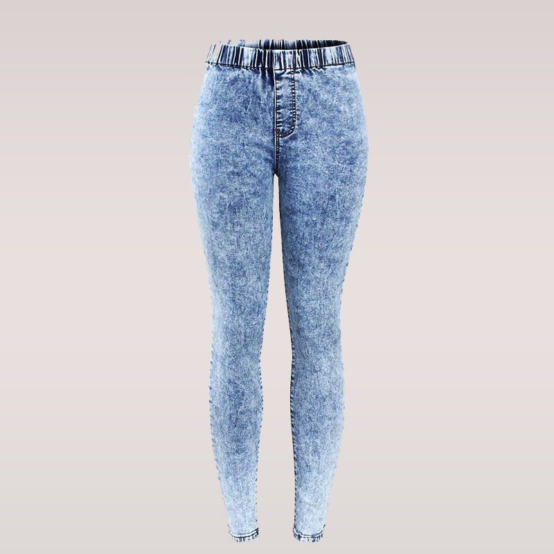 New Plus Size Ultra Stretchy Acid Washed Jeans for Woman