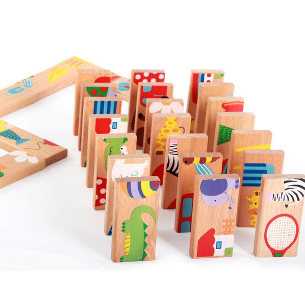28pcs/set Animal Colored Dominoes Wooden Puzzle Cartoon