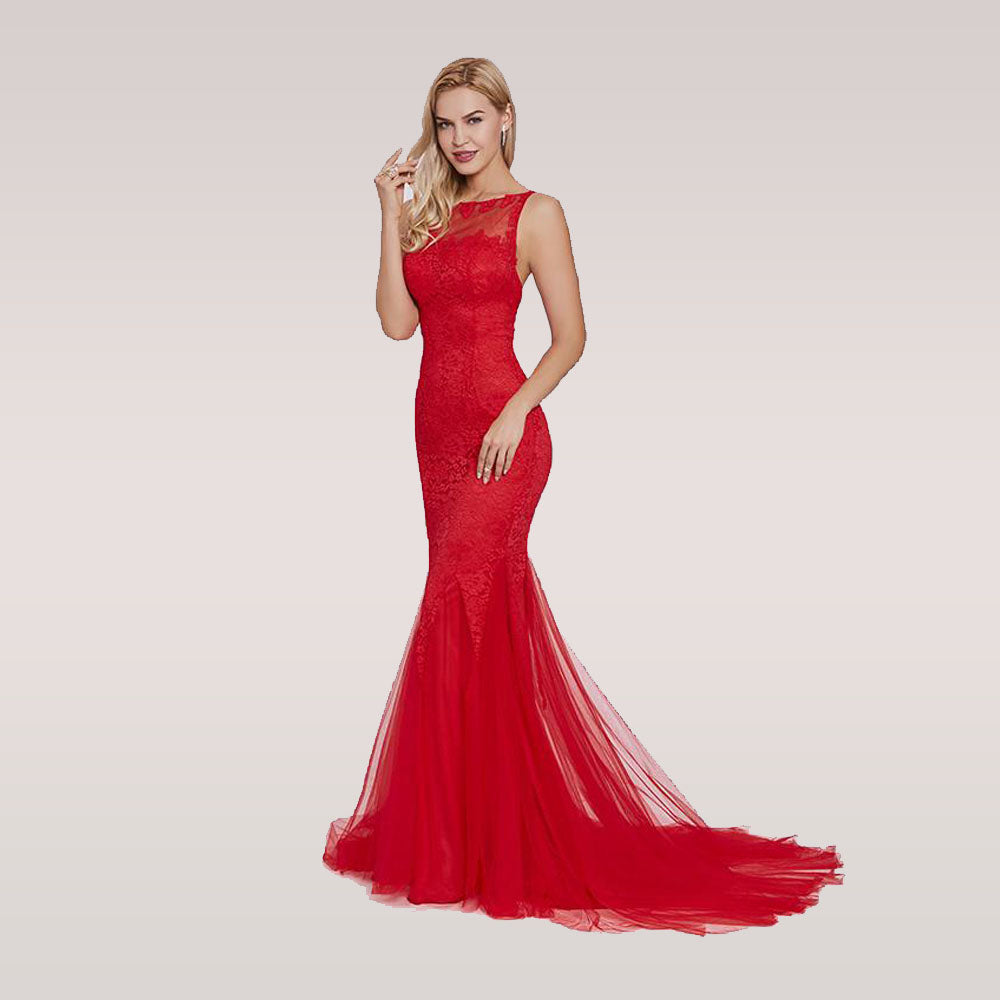 f7c7599b9406 Red evening dress sleeveless mermaid scoop neck backless sweep train  wedding party formal trumpet evening dress