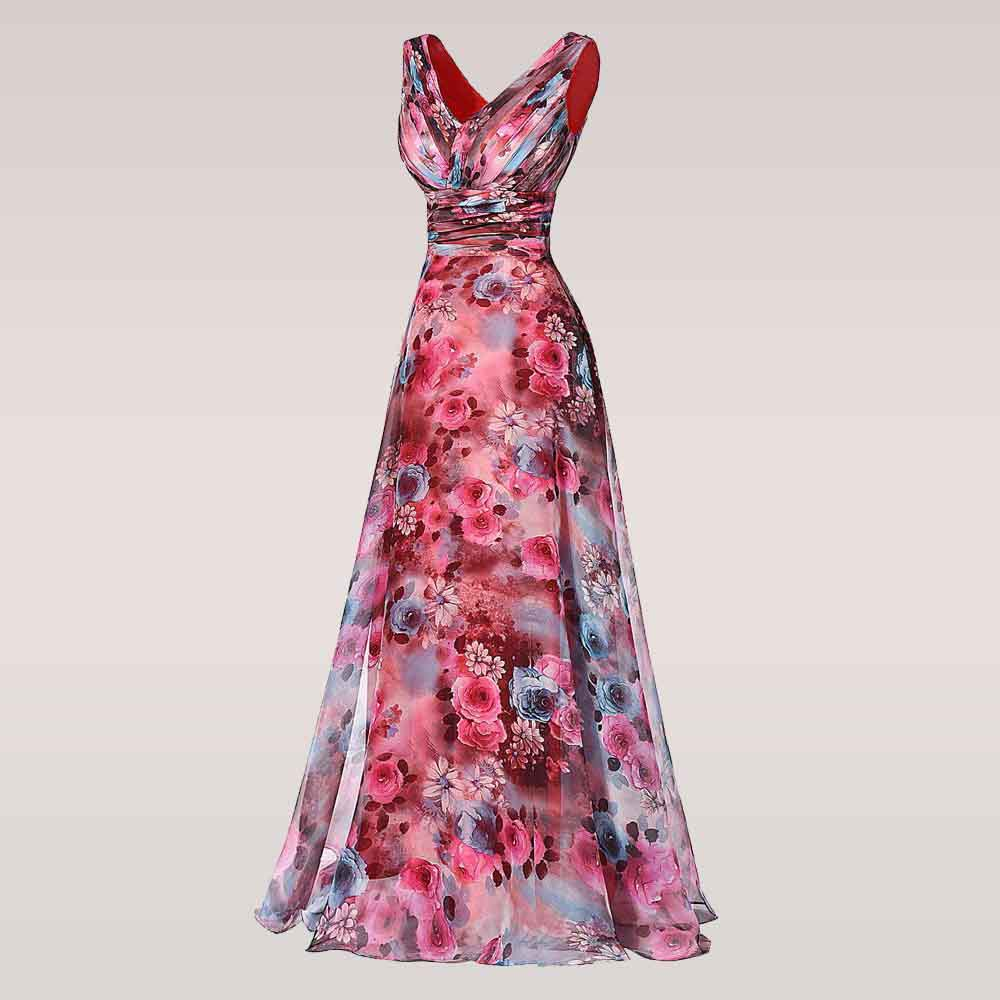 3d1505baf74eb Long Prom Dress High Quality The Most Beautiful Formal Party Gown Floral  Pattern Sleeveless Special Occasion Dress