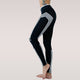 Women Sporting Athleisure Work Out Leggings Striped Slim Black Full Length Fitness Leggings