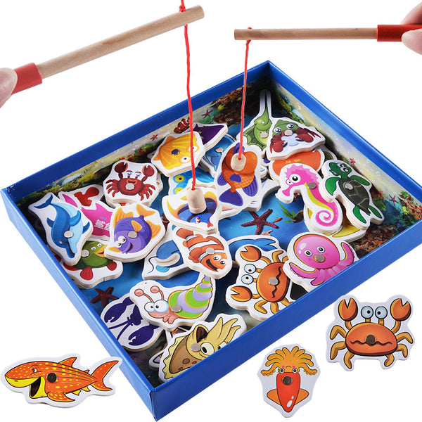 32Pcs Baby Educational Toys Fish Wooden Magnetic Fishing Toy Set