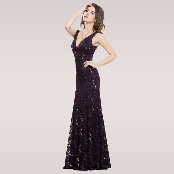 Sexy Prom Dresses Deep V Neck Natural Waist Sparkle Floor Length Special Party Gown