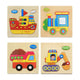 4 Pcs Wooden Puzzle Three-Dimensional Colorful Wooden Puzzle Educational Toys Developmental Baby Toy Child Early Training Game