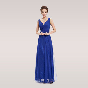 ... Prom Party Dress Women Sexy Blue V-neck Ruched Ever-Pretty Long Prom  Dresses 6d1d6d4190bb