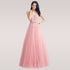 Champagne Long Evening Dresses Sexy V Neck Backless Lace Prom Party Gown