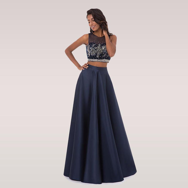 A Line Scoop Neck Long Prom Dress