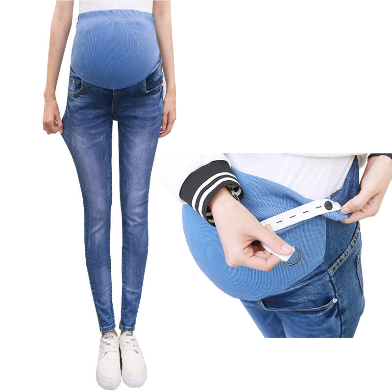 504dbf6010ae8 Abdominal Maternity Jeans For Pregnant Women Denim Skinny Trousers Nursing  Maternity Clothes Elastic Waist Pregnancy Pants
