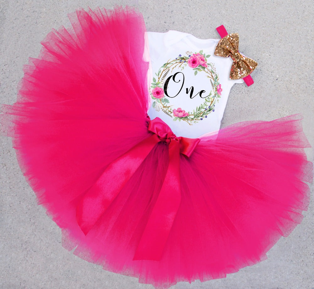 4ea3a142a5e9d Newborn Infant Baby Girls Dress1 Year First Birthday Outfits