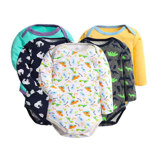Baby Cartoon Style Long Sleeve Bodysuit For Baby Boys And Baby Girls