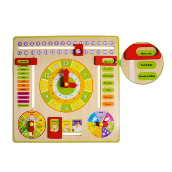 Baby Wooden Toy Children Learning Developmental Versatile Flap Abacus Wood Clock Kids