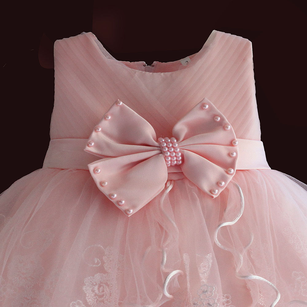 Brand New Baby Girl Dresses Pink White Pearl Bow Party and Wedding ...