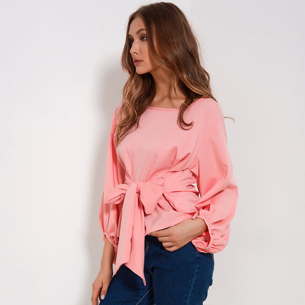 Chiffon Wrap Long Sleeve Blouses With Bow Belt