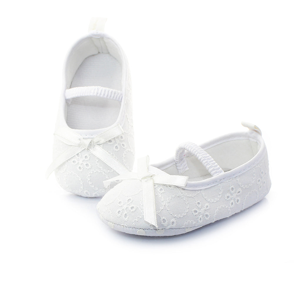 4d142429d2c6a White Knitting Flower Butterfly Baby Girl Christening Baptism Shoes