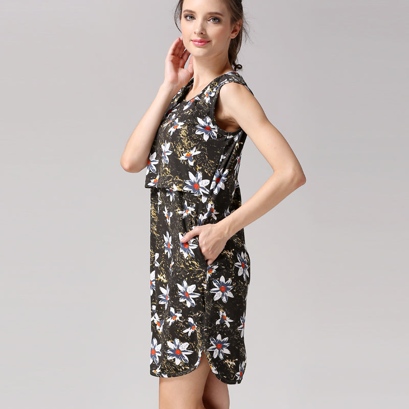 ace8c535f81e0 New Sleeveless Floral Maternity Pregnancy Short Dress For Pregnant ...