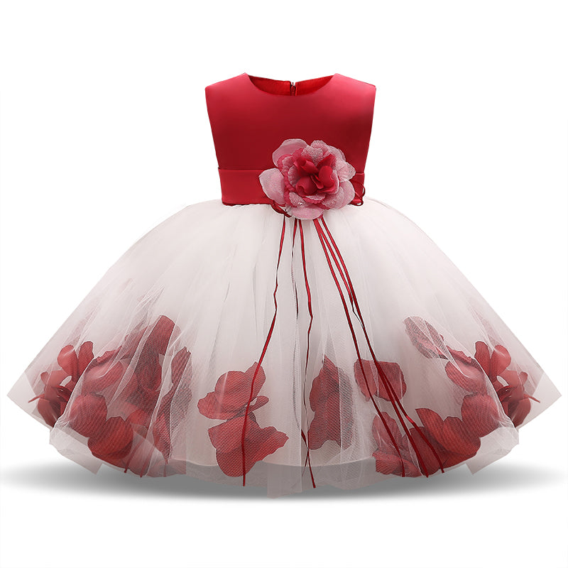 ac904b19fad Fairy Petals Baby Girls Flower Wedding Dress for Newborn Baby Girl ...
