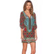 Bohemian Neck Tie Vintage Printed Ethnic Style Summer Shift Dress