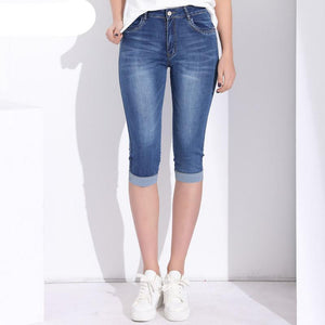 2ff4ca419e4 ... Plus Size Skinny Jeans for Women Stretch Knee Length Denim Shorts Jeans