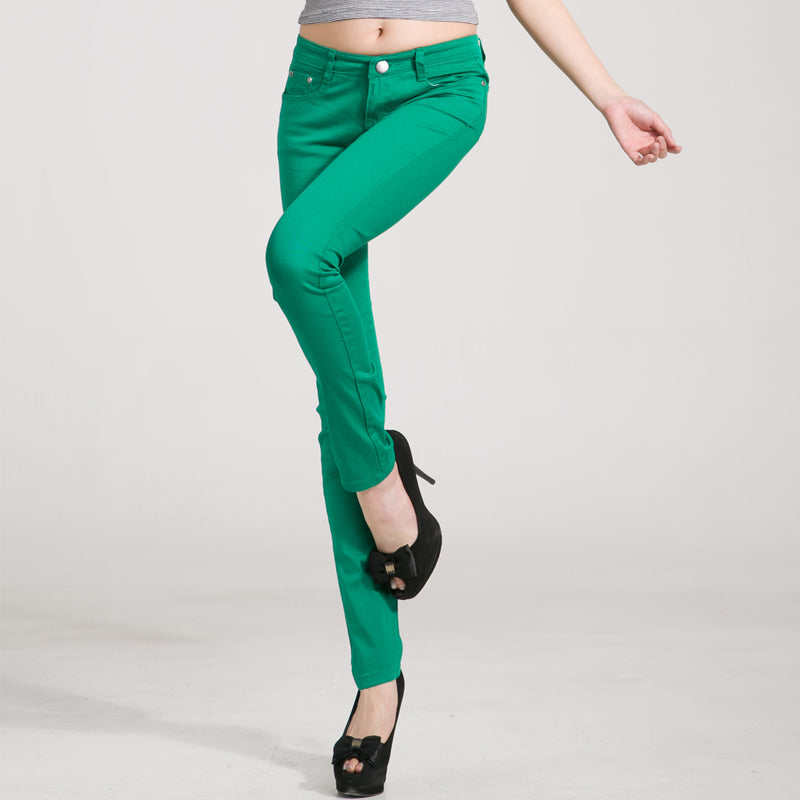 2c093bdefb8 Women Jeans Pants Plus Size Skinny Slim Trousers Stretch Jeans with White  Red Black 20 Candy