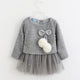 Baby Girl Dress- New Casual Autumn Baby Clothes Long Sleeve Plaid Bear Straps Fake Two Piece Dress