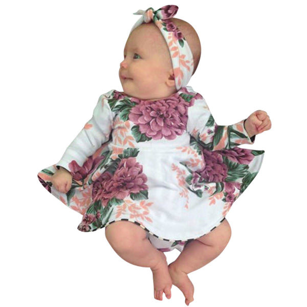 New Baby Girl Floral Printed Dress+Headband Outfits long sleeve  Birthday Dress