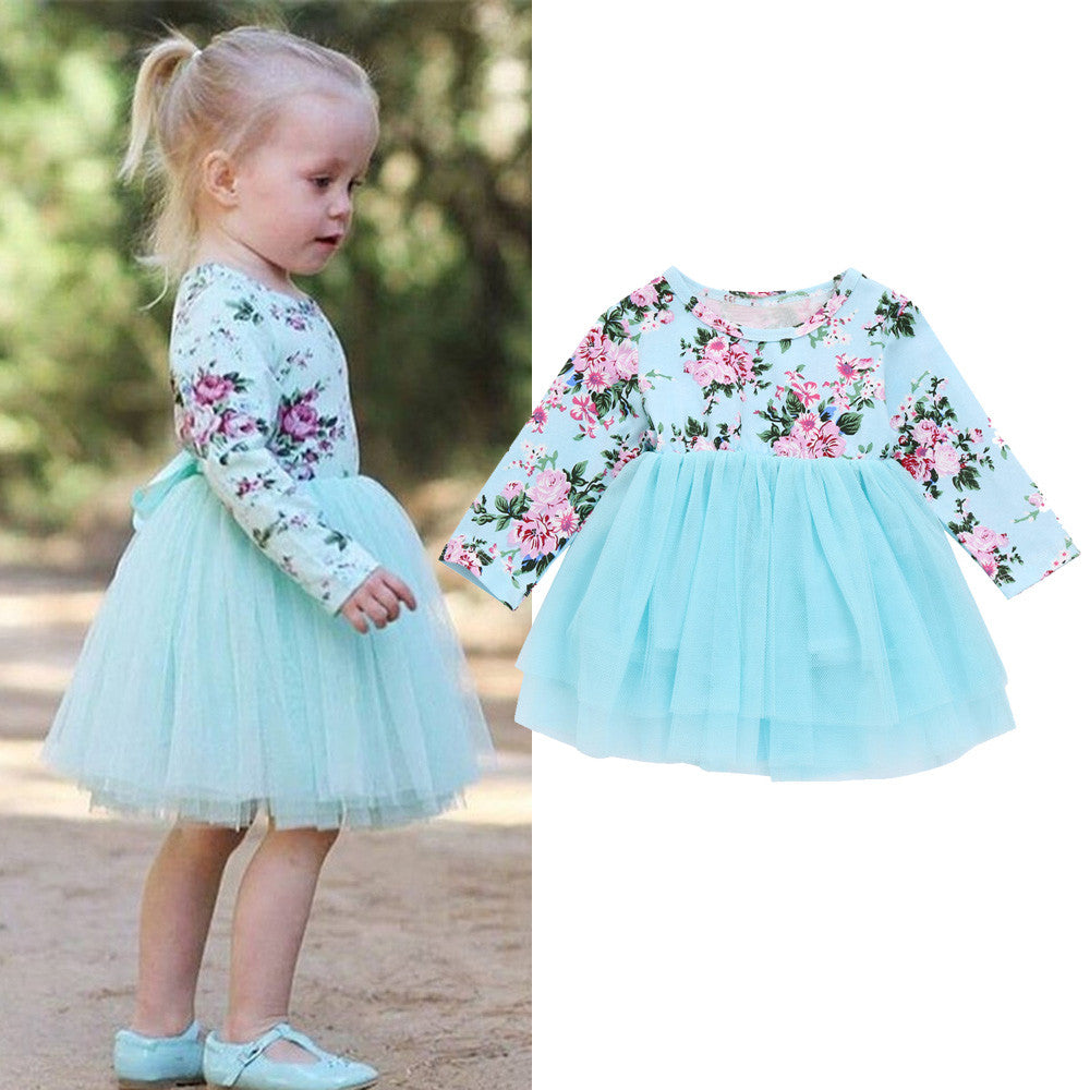 ca301d0de993c Newborn Infant Baby Girl Clothes Floral New Spring Long Sleeve Dress