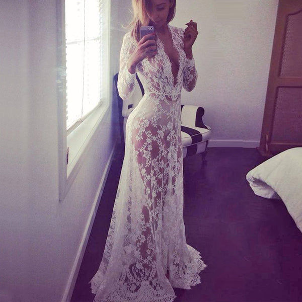 Maternity Photography Props Pregnancy Wear Black White Lace Sexy V Neck Long Beach Dress