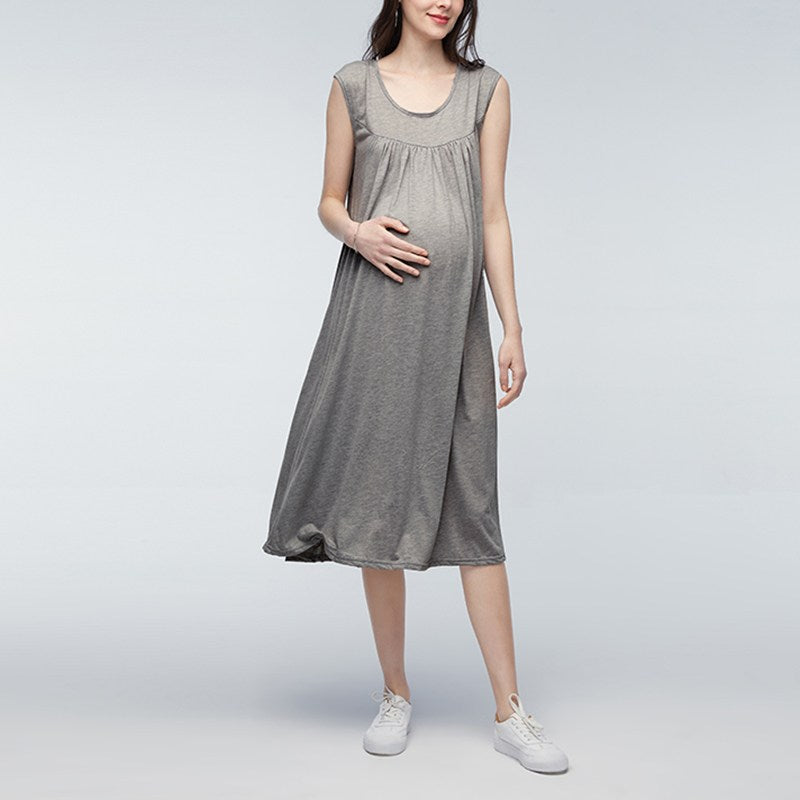 95d795f07ecaa Mother Dresses Solid Short Sleeve Maternity Dress Casual Pleated O Neck