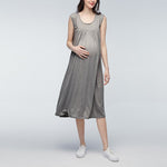 Mother Dresses Solid Short Sleeve Maternity Dress Casual Pleated O Neck