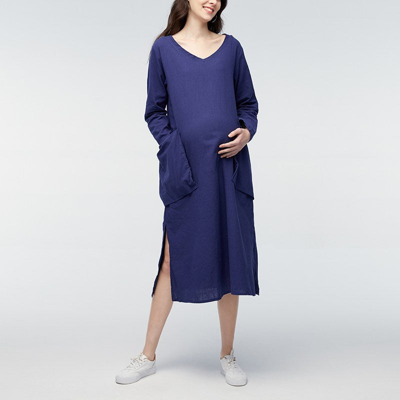 6bdc1d7393d0 Women Maternity Clothes Solid Casual Loose Long Sleeve Maxi Dresses  Pregnancy Clothing