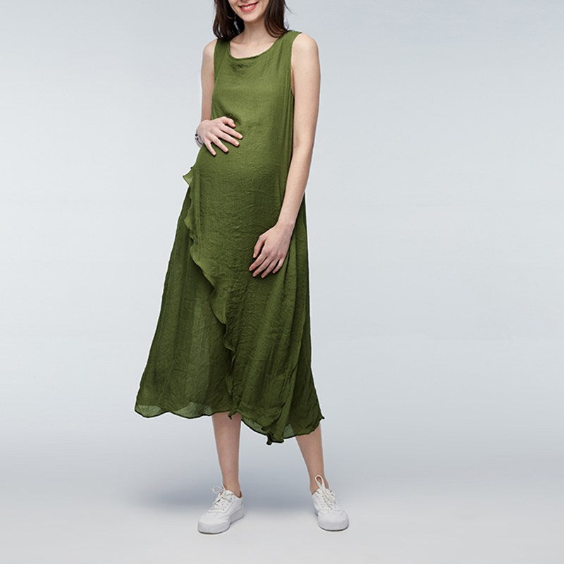 262ea35605620 Plus Size Pregnant Women Long Dress Mother Casual Loose Summer Maternity  Clothings Pregnancy Ankle-length