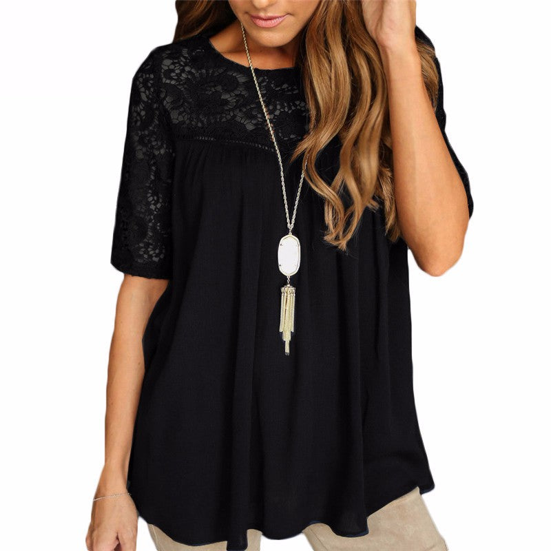 07883268378c1 Plus Size Summer Casual Pregnant Women Blouses Lace Chiffon Splice Shirts  Loose Short Sleeve Solid Tops