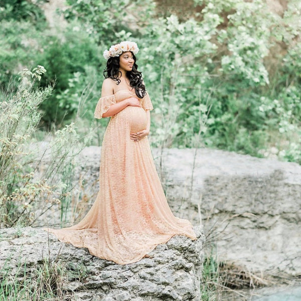 Maternity Photography Props Pregnant Dress Lace Robe Off Shoulder