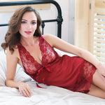 Sexy Nightwear Women Silk Lace Sexy Sleepwear with High Quality