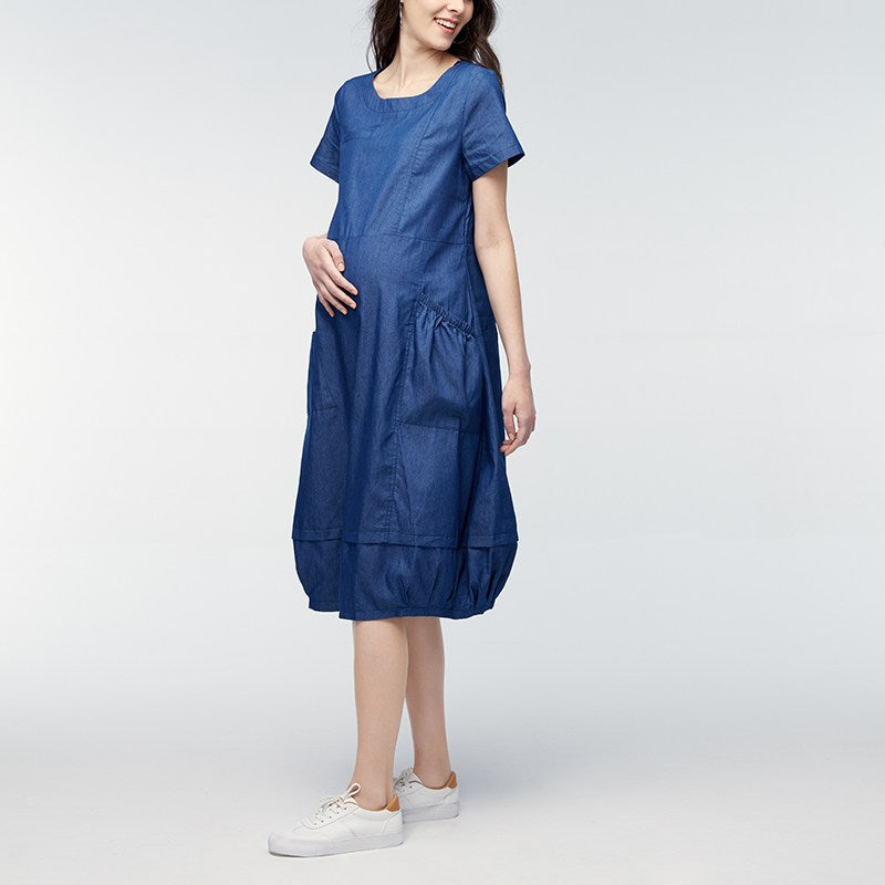 7e3dc0b32a794 Pregnant Women Clothes Short Sleeve Loose Pregnancy Mother Mid-calf Dress  Maternity Clothing