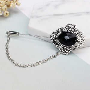 e10a1a367aa ... Antique Silver Black Crystal Lapel Stick Brooches Pins for Women Men  Tie Hat Scarf Suit Brooch