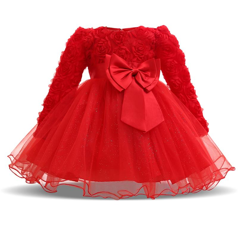 2501aad88081c Winter Christmas Baby Girl 1 Year Birthday Little Dress Infant Christening  Gowns
