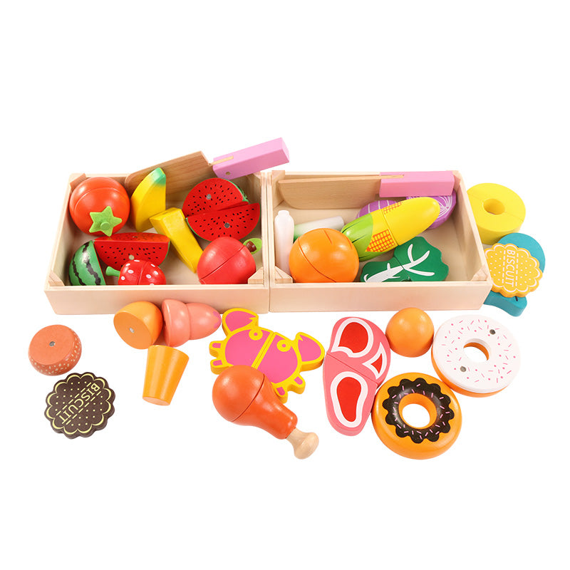 Wooden Kitchen Toys Cutting Fruit Vegetable Play miniature Food Kids Wooden  baby