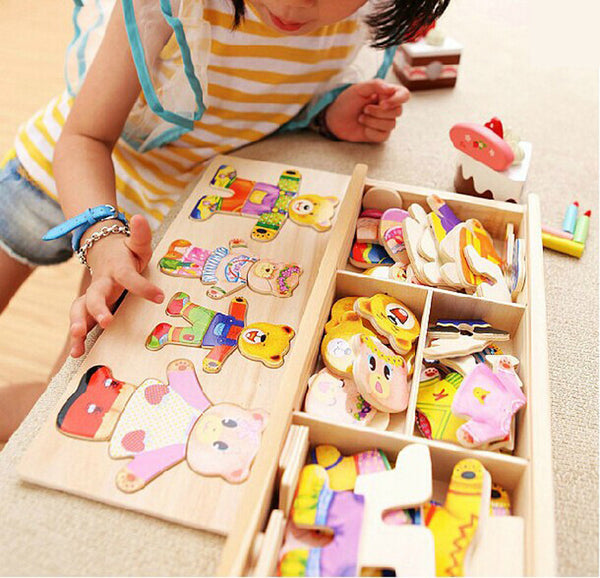 Little bear change clothes Children's early education Wooden jigsaw Puzzle Dressing game Baby Wooden Puzzle toys