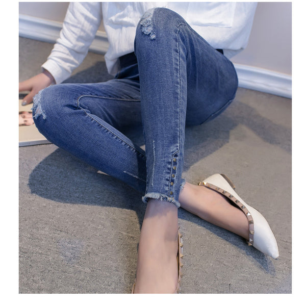 Pregnant women spring autumn ripped jeans leggings maternity casual rivet hole denim pants for mother mom large size 48 pants