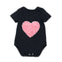 Love Heart Baby Bodysuit  Black Cotton Short Jumpsuit Infant Girl Birthday Suits