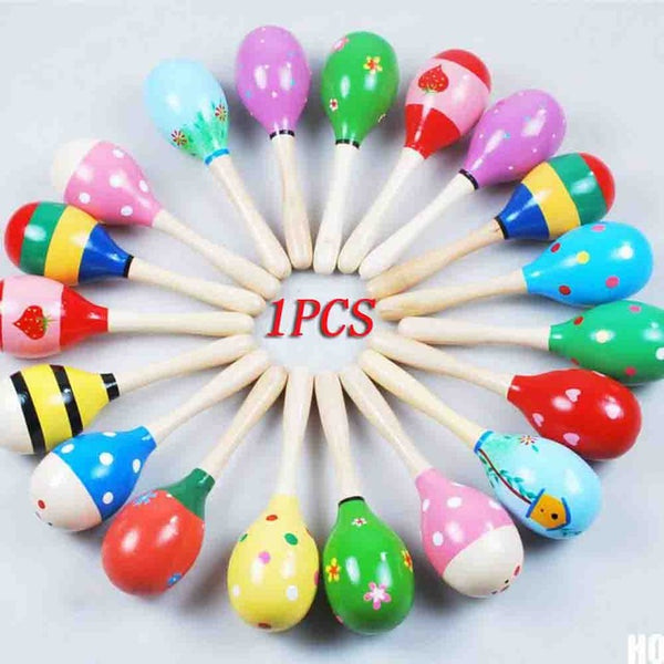 1/2Pcs 12x3.5cm Baby Wooden Maraca Rattles Sand hammer Kids Musical Party favor Child Baby Shaker Toy