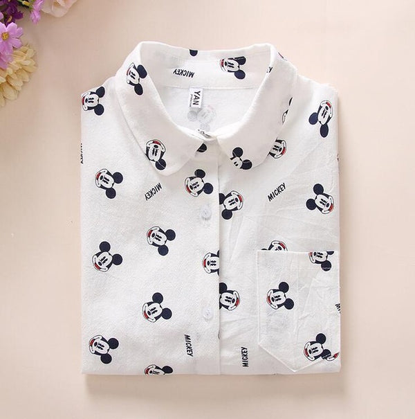Long Sleeve Cartoon Print White Feminine Blouse