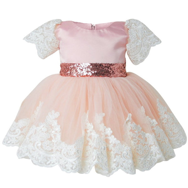 Babe Bow Flower Wear Wedding bridal Girl Dress Party Birthday Princess Toddler Baby Girl Clothes Children Tulle Lace Tutu