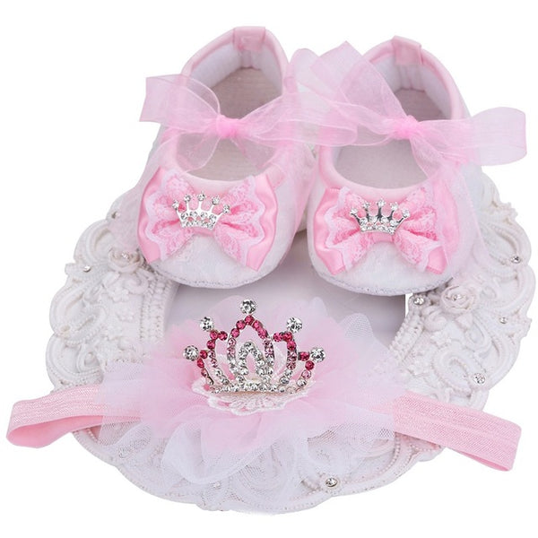 New Style Rhinestone Imperial Crown Newborn Baby Shoes for  First Walkers