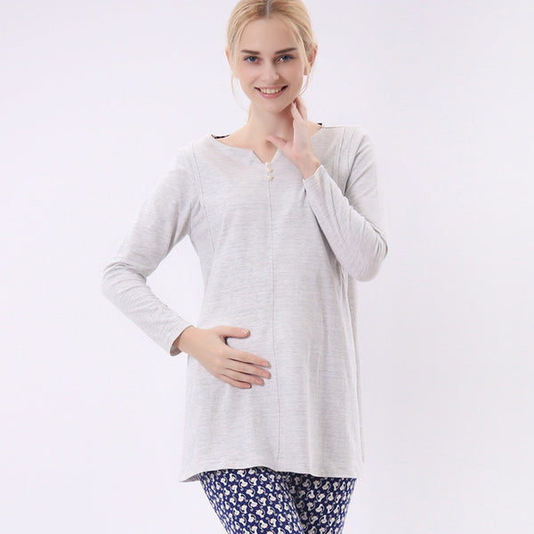Maternity clothing breastfeeding clothing cotton pajamas long-sleeved pregnant women home clothing