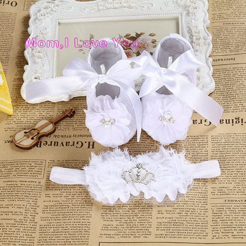Newborn baby girl shoes headband set toddler baby shoes branded first walker