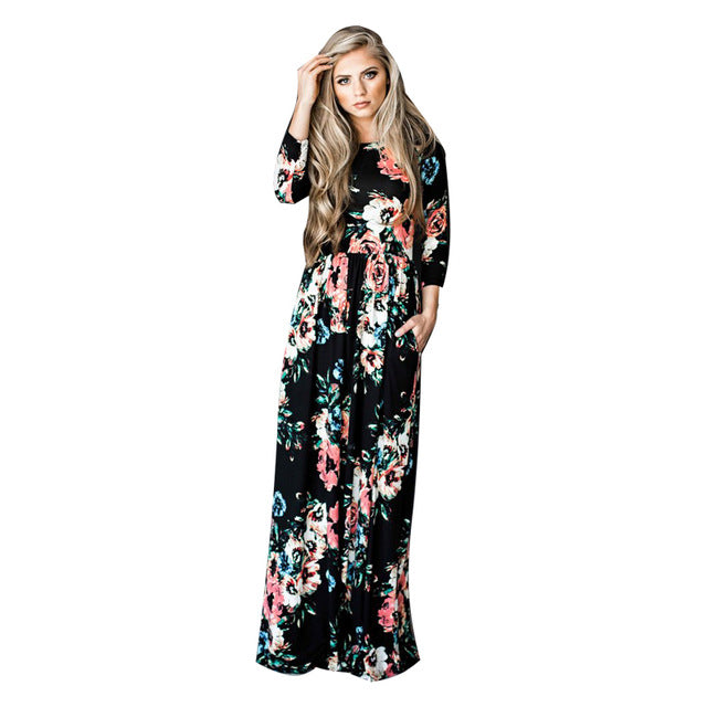 a68f3fb0b8 Floral Draped 3 4 Sleeve Maternity Maxi Dress – Style Guide