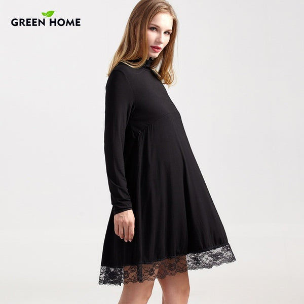 Maternity Dress Lace Modal Long Sleeve