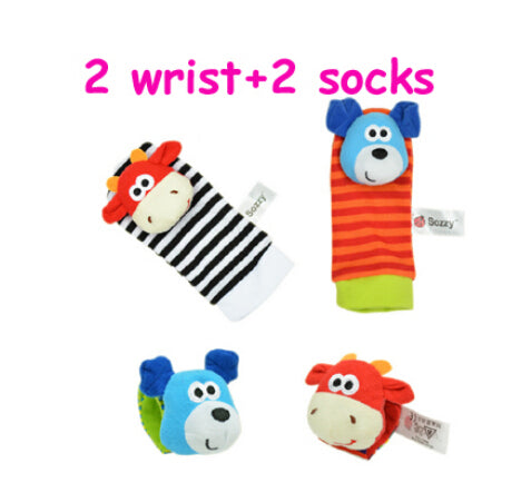 4pcs/lot Hot Sozzy Baby Toys Garden Bug Wrist Rattle and Foot Socks